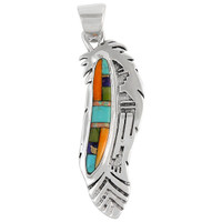 Sterling Silver Feather Pendant Multi Gemstones P3134-C01A