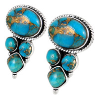 Sterling Silver Earrings Matrix Turquoise E1280-C84