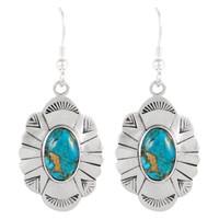 Sterling Silver Earrings Matrix Turquoise E1281-C84