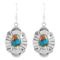 Sterling Silver Earrings Spiny Turquoise E1281-C89