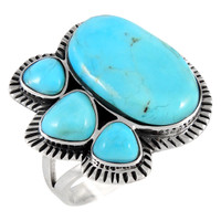 Sterling Silver Ring Turquoise R2441-C75