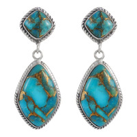 Sterling Silver Earrings Matrix Turquoise E1284-C84