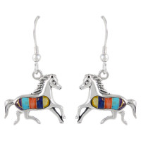 Sterling Silver Horse Earrings Multi Gemstones E1053-C01