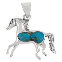 Sterling Silver Horse Pendant Matrix Turquoise P3002-C84