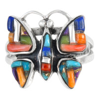 Sterling Silver Butterfly Ring Multi Gemstone R2037-C51
