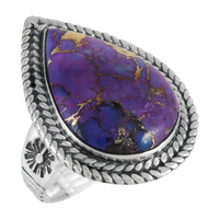 Sterling Silver Ring Purple Turquoise R2443-C77