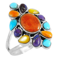 Sterling Silver Ring Multi Gemstone R2445-C71