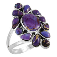 Sterling Silver Ring Purple Turquoise R2445-C77