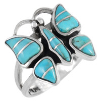 Sterling Silver Butterfly Ring Turquoise R2037-C05