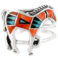 Sterling Silver Horse Ring Multi Gemstone R2018-C03