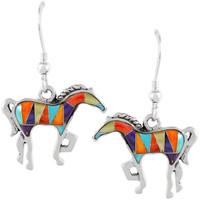 Sterling Silver Horse Earrings Multi Gemstones E1054-C01