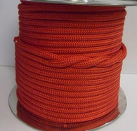 Rope 6mm double braid polyester - solid red (per metre)