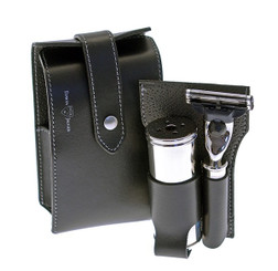 Edwin Jagger Leather Travel Shaving Kit in Black