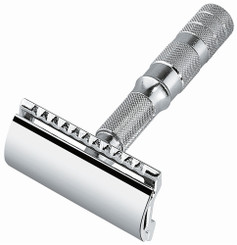 Merkur Travel Safety Razor Chrome-Plated with Leather Case