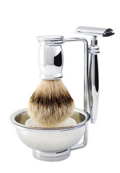 Edwin Jagger Bulbous Chrome Four-Piece Luxury Shaving Set with DE Razor