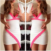 Short Sleeves Asymmetrical White Mini Polyester Dress