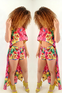 BrytCouture Colorful Floral Print Two-piece Polyester Jumpsuit