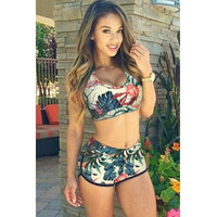 BrytCouture Floral Print Two-piece Bikini Beachwear Set