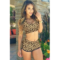 BrytCouture Sexy Leopard Print Two-piece Bikini Beachwear Set