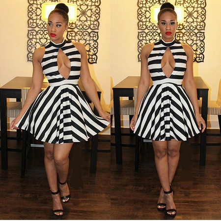 Turtleneck Tank Sleeveless Striped Polyester Mini Dress