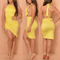 Backless Asymmetrical Yellow Blending Midi Dress