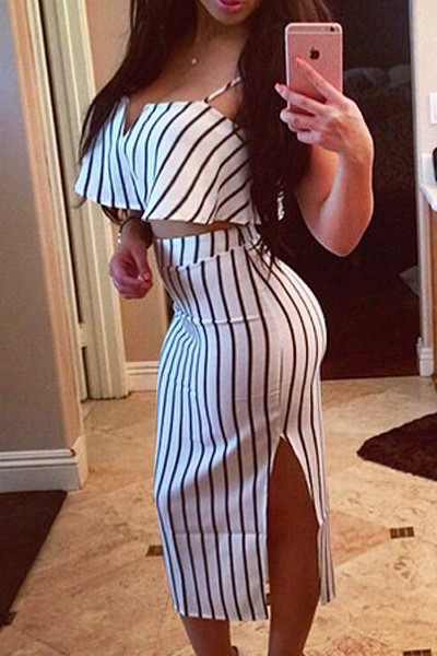 BrytCouture Spaghetti Strap Side Split Two-piece Striped Skirt & Top Set