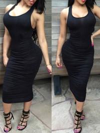 BrytCouture O Neck Tank Sleeveless Black Blending Sheath Knee Length Dress