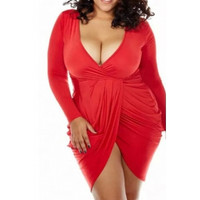 BrytCouture Sey Plus Size V Neck Ruffles Design Asymmetrical Mini Dress - Red