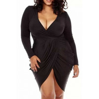 BrytCouture Sexy Plus Size V Neck Ruffles Design Asymmetrical Mini Dress - Black