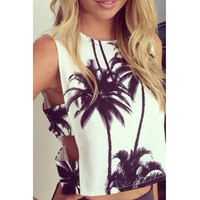 Casual Coconut Palm Print Tank Top