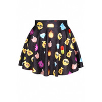 BrytCouture Limited Edition High Waist Emoji Mini Skirt - Black