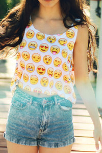 BrytCouture Limited Edition High Waist Emoji Print Crop Top White