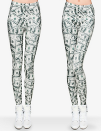 Dollar Sign Celebrity Styled 3D Print Leggings