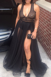 BrytCouture Spaghetti Strap Mesh Patchwork Black Maxi Dress