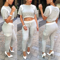 BrytCouture Casual Short Sleeves Patchwork Grey Polyester Jumpsuit Set