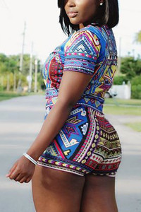 BrytCouture Geometric Print Spandex Two-piece Shorts Set