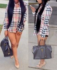 Buy Boy friend Style Turndown Collar Long Sleeves Plaid Shirt