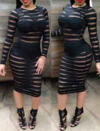 Hollow-out Striped Black Spandex Mini Dress
