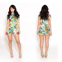 Summer 2 Piece Vintage Floral Print Short Jumpsuit