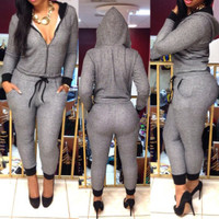 BrytCouture V-Neck Design One Piece Draw String Hooded Jumpsuit