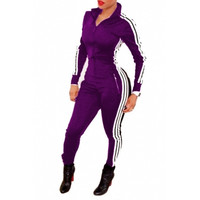 BrytCouture Casual Long Sleeves One-piece keyshia ka'oir Style Skinny Jumpsuit - Purple