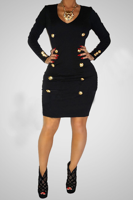BrytCouture Buckles Embellished Black Polyester Mini Women Dress
