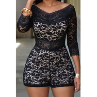 V Neck Design Three Quarter Sleeves Lace Overlay White Skinny Romper