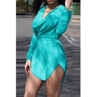 BrytCouture Sexy Asymmetrical Design Long Sleeves V-Neck Mini Dress - Green