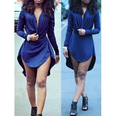 BrytCouture Sexy Asymmetrical Design Long Sleeves V-Neck Mini Dress - Blue