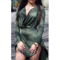 BrytCouture Sexy Asymmetrical Design Long Sleeves V-Neck Mini Dress