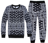 Unisex Paisley Bandanna Hip Hop Sweatpant And Sweatshirt Set
