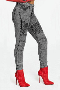 BrytCouture Button Fly Design Denim Skinny Pants (Fleece Insert)