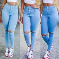 Casual Ripped Button Fly Design Blue Denim Skinny Pants