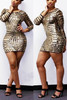 Long Sleeves Gold Sequined Sheath Mini Dress